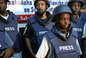 Somali journalists in body armor. (AFP)