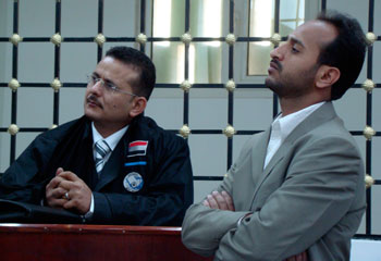 In the first case decided by the special press court, Samir Jubran, right, was banned from working as an editor for one year. (Reuters)