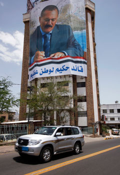 Billboard-sized images of the president are common throughout the country. (Reuters/Khaled Abdulla)