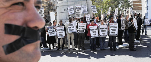 South African journalists protest media restrictions on the nation's annual Day of Media Freedom. (Independent Newspapers Cape)