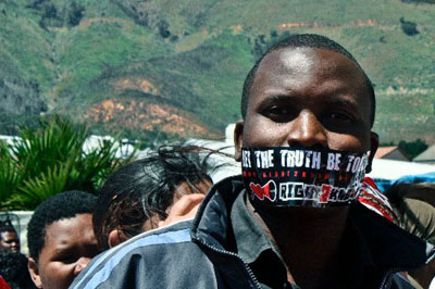 Protesters taped their mouths shut to oppose the Protection of Information Bill. (Imke van Heerden)