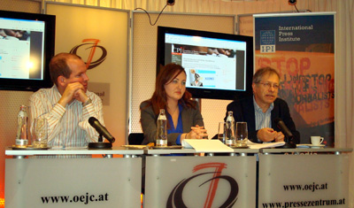 CPJ's Ognianova, center, leads a briefing Tuesday in Vienna. With her are, left, Anthony Mills of the International Press Institute and CPJ's Jean-Paul Marthoz. (CPJ)