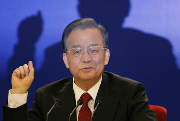 Wen Jiabao at a press conference in March. (AP/Vincent Thian)