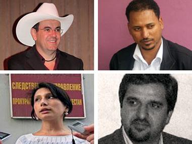 Em sentido horário, iniciando na esquerda superior, Márquez, Kebede, Davari, e Isayeva.