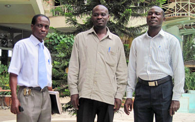 Former CBS journalists Ndiwalana Kiwanuka, left, Richard Wasswa and Joesph Kafumbe. (CPJ)