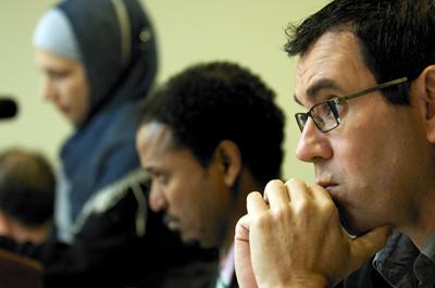 Left to right: Nadira Isayeva, Dawit Kebede, and Laureano Márquez in Washington. (CPJ/Rodney Lamkey Jr.)