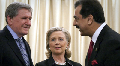 Gilani, right, with U.S. special representative Richard Holbrooke and Secretary of State Hillary Rodham Clinton in July. (Reuters)