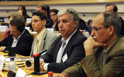 Freed Cuban journalist Ricardo González Alfonso, center, speaks in front of the Subcommittee on Human Rights at the European Parliament in Brussels on September 13. (AFP)