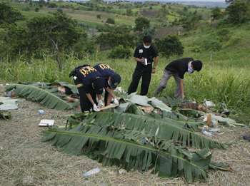 Police and journalists identify victims at the scene in November 2009. (Reuters/Erik de Castro)