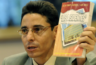 Normando Hernández González testifies at the European Parliament in September. Free after six years in a Cuban prison, the journalist says he suffered torture in custody. (AP)