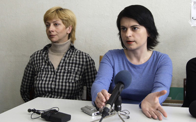 Belarusian journalists Irina Khalip, left, and Natalya Radina. They are currently held by the KGB in Minsk. (AP/Sergei Grits)