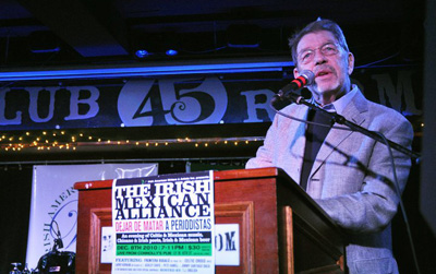 Pete Hamill was among the journalists who spoke to the crowd; a mariachi band and Celtic performers took turns on stage. (James Higgins)
