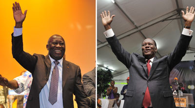 Supporters of Gbagbo (left) and Ouattara (right) are going after each other's media outlets. (AP)