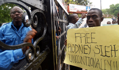 As protests mounted, Sirleaf's government secured the release of jailed editor Rodney Sieh. (Aaron Leaf)