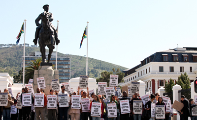 Protesters in Capetown decry secrecy bill. (Independent Newspapers Cape)