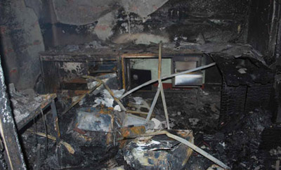 The offices of Sri Lankan website Lanka eNews were completely destroyed in an arson attack today. (Lanka eNews)