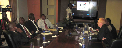 Journalists at CPJ's Nairobi launch of Attacks on the Press today. (CPJ)