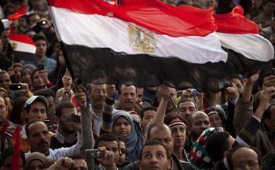 Protesters in Tahrir Square. (AP/Emilio Morenatti)