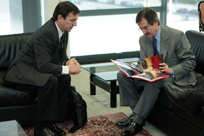 CPJ's Carlos Lauría meets with Antonio Cezar Peluso, president of the Brazil's Supreme Federal Tribunal. (CPJ)