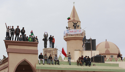 Protesters chant anti-government slogans in the main square of Tobruk, Libya, today. (Reuters/Asmaa Waguih)