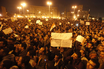 Protesters have created impromptu news theaters in Cairo's Tahrir Square, seen here. (Reuters)