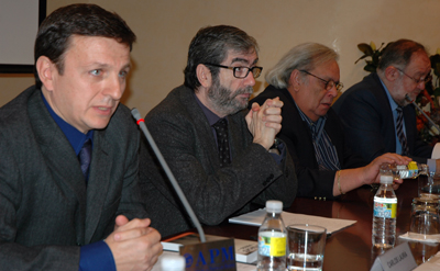 From left: Carlos Lauría, Antonio Muñoz Molina, Raúl Rivero, and Fernando González Urbaneja at CPJ's Madrid presentation of its report on the Black Spring, in March 2008.