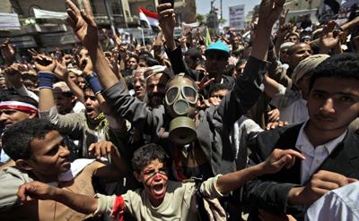 Demonstrations in Sana'a. (AP/Muhammed Muheisen)