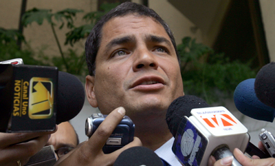 President Correa won his defamation suit but is appealing for more damages. (AP/Dolores Ochoa)