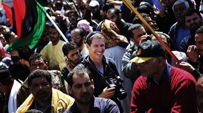 Hetherington working in Benghazi in March. (Reuters/Finbarr O'Reilly)