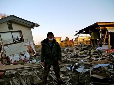 Ugaya in tsunami-destroyed Noda Mura village. (Hiro Ugaya)