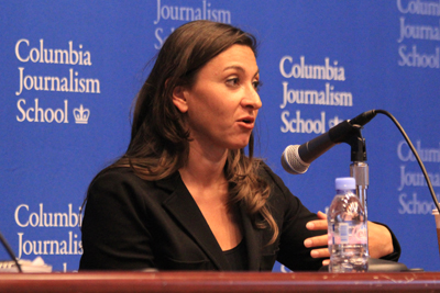 Lynsey Addario said at Columbia University that her ordeal was no worse than her male colleagues'. (Rebecca Castillo)