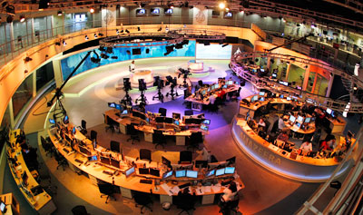 Syrian authorities told Al-Jazeera's Syria-based staff not to communicate with the station's headquarters in Doha, seen here. (Reuters/Fadi Al-Assaad)