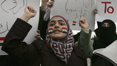 Syrians living in Jordan protest in solidarity with anti-government protesters in Syria. (Reuters/Majed Jaber)