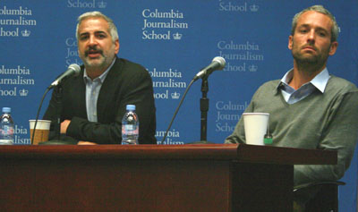 Anthony Shadid, left, and Tyler Hicks tell the audience about their ordeal in Libya. (Pauline Eiferman)