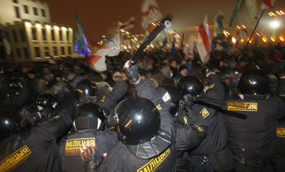 Belarusian police crush an election protest as critical domestic websites were suddenly blocked. (AP/Sergei Grits)