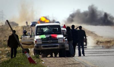 Rebels outside the city of Ajdabiya. (AP/Anja Niedringhaus)
