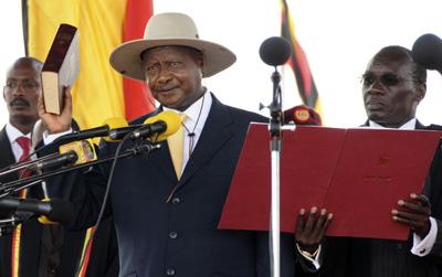 Ugandan President Yoweri Museveni at his swearing-in ceremony on May 12. (AP)