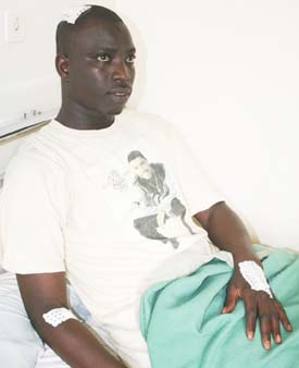 Dieng recovering in the hospital. (Courtesy Dieng)
