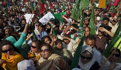 Journalists are facing increasing risk at public demonstrations. Here, a March rally in Islamabad to denounce the CIA. (Reuters/Mian Khursheed)