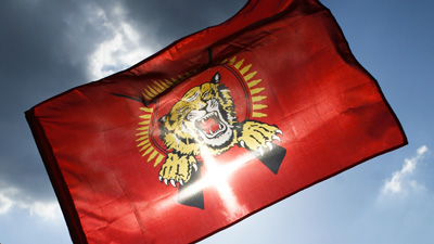 A flag for Sri Lanka's secessionist Liberation Tigers of Tamil Eelam. (AP/Markus Schreiber)