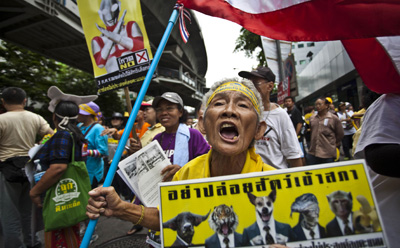 PAD protesters take to the streets in Bangkok on Friday on the final day of campaigning for Sunday's election. (AP/David Longstreath)