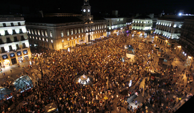Recent demonstrations lead to several cases of anti-press violence by police. Here, a 15-M protest in Madrid. (Reuters/Sergio Perez)