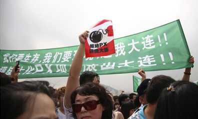 Thousands of demonstrators called for the closure of a chemical plant on Sunday, but coverage of the rally disappeared online. (Reuters)