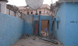 The front of private radio station Radio Daljir was damaged in a grenade attack on Friday. (Radio Daljir)