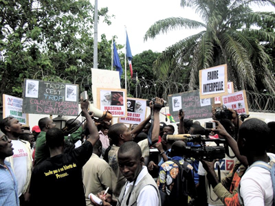 Togolese journalists at Saturday's protest. (Sylvio Combey)