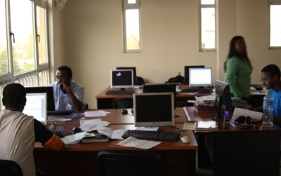 Addis Neger's newsroom in 2009, before the editors fled and the paper folded. (Addis Neger)