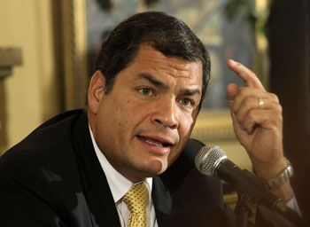 Correa addresses the media in a Quito news conference. (Guillermo Granja/Reuters)