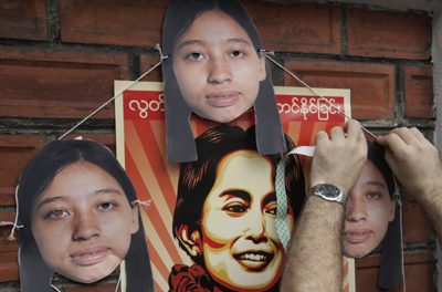 At a protest in Bangkok, images of the jailed journalist Hla Hla Win. (AP/Sakchai Lalit)