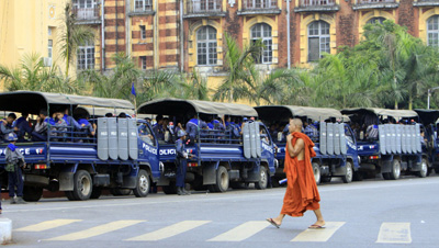 Burma is at a crossroads between a tradition of military control and prospects for a democratic future. (AP/Khin Maung Win)