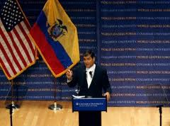 President Correa discusses press freedom at Columbia University. (Reuters)